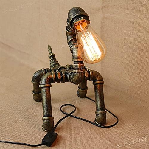Pequeña mesa lámpara personalidad individual edison industria mecánico perro escritorio luz retro estilo cachorro agua tubo escritorio americano café creativo dormitorio decoración de la cama leyendo