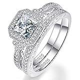 Bonlavie Argent 925 Bague de Mariage Engagement Alliance Fiançaille Zirconium Cubique Bijoux pour Femmes Filles