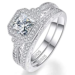 HIGH QUALITY - This stunning ring set sparkles to perfection with vibrant CZ cubic zirconia diamond stones. Silver weight: 6.92 g, gemstone number: 24pcs 1.0mm, 35pcs 1.2mm, 6pcs 1.4mm, 1pc 6.0*6.0mm. SAFE & COMFORTABLE - Carefully constructed with h...