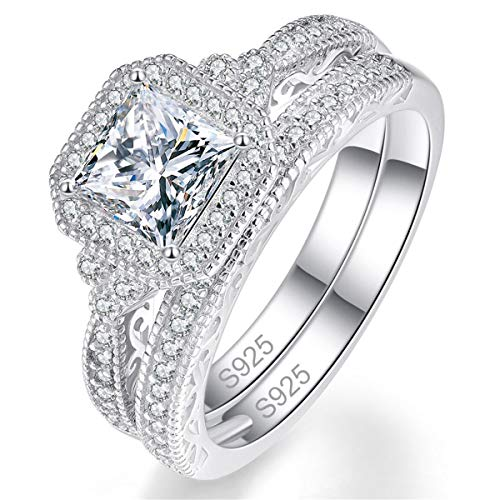 Bonlavie 925 Sterling Silver Princess and Round Cut White Cubic Zirconia Engagement Ring Set for Women Girls