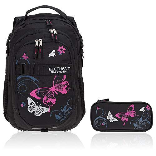 Schulrucksack Mädchen 2 T Set Hero Butterfly Rucksack Schultasche Mäppchen Box 12679 rmb (Butterfly Black Pink)