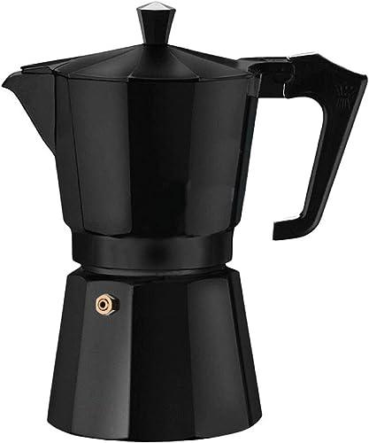 Hammer Living Home Kitchen Use Aluminium Coffee Maker Moka Pot Top Expresso Latte Stove Percolator 3 Cups 150ML Capacity Black