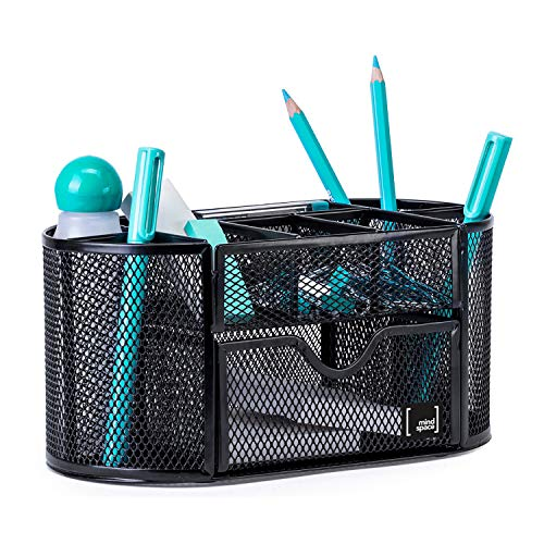 Pen Holder for Desk By Mindspace with 8 Compartments + Drawer  Office Supplies Organizer   The Mesh Collection, Black