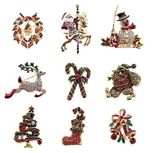 YINETTECH 9 Stks Kerstmis Xmas Broche Rendier Vader Kerstboom Schoen Bell Crutch Snowman Accessoire Pin Badge Corsage Sjaal Decoratie Festival Gift