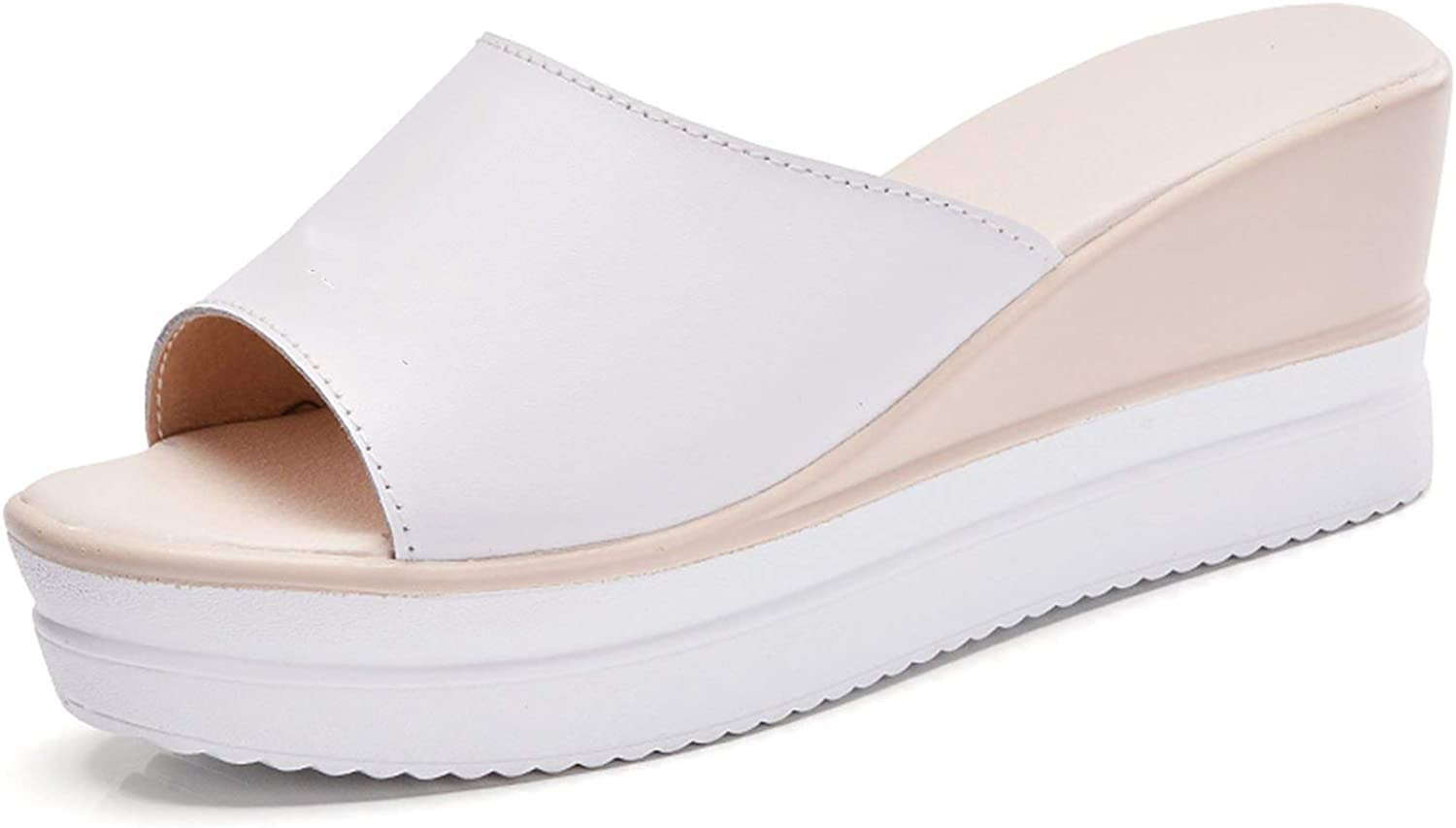 The Hot Rock-Sandals Summer Women Flat Platform Slippers Slides shoes Woman Slip on Open Toe Solid White Leather Wedge