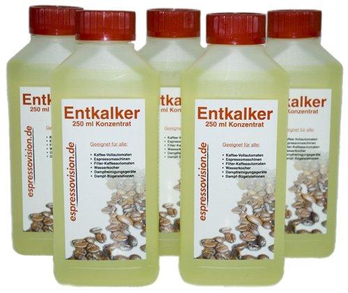 Ontkalker concentraat (vloeibaar) voor koffiemachines en huishoudelijke apparaten, 5 x 250 ml (1250 ml)