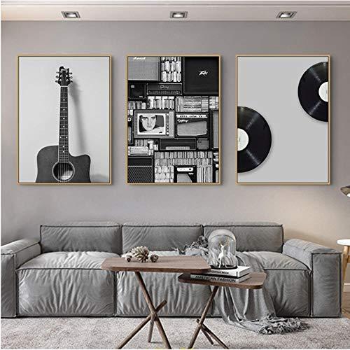 Liangzheng Nordic zwart wit plaatje gitaar canvas schilderij muurkunst schilderij schilderij voor woonkamer modern decoratie afbeelding huis decoratie 40x60cmx3 niet ingelijst
