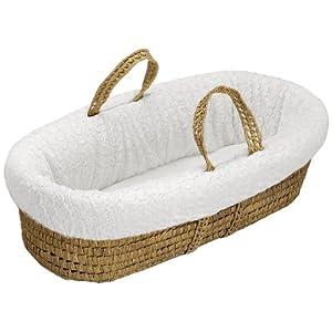 Baby Doll Bedding Sheepskin Moses Basket Set, White