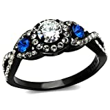 Marimor Jewelry 1.26 Ct Clear & Blue Cubic Zirconia Halo Stainless Steel Black Engagement Ring Size 9