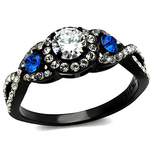 Marimor Jewelry 1.26 Ct Clear & Blue Cubic Zirconia Halo Stainless Steel Black Engagement Ring Size 5