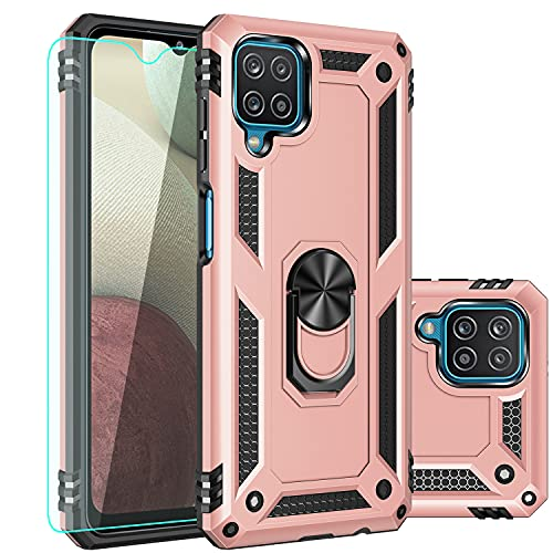 Galaxy A12 Case,Samsung A12 Case,with Screen Protector,[Military Grade] 16ft. Drop Tested Cover with Magnetic Kickstand Car Mount Protective Case for Samsung Galaxy A12, Rose Gold