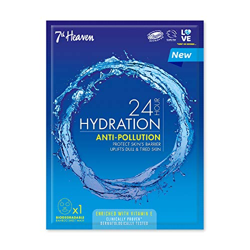 7th Heaven '24 Hour Hydration' Anti-Pollution Biodegradable Bamboo Sheet Mask Enriched with Vitamin E to Protect the Skin's Barrier and Uplift Dull & Tired Skin