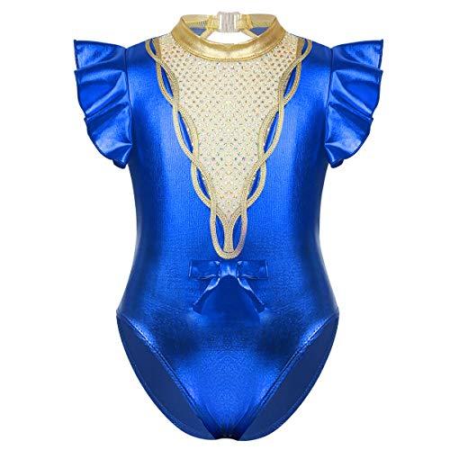 inhzoy Maillot Charol de Gimnasia Rítmica para Niña Leotado de Danza Ballet Lentejuelas Manga con Volantes Disfraz de Bailarina Body Patinaje Baile Azul 12 Años