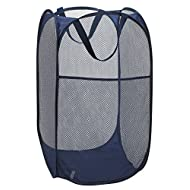 """Handy Laundry Collapsible Mesh Foldable Hamper 14"""" x 14' x 24"""" Navy Blue"""