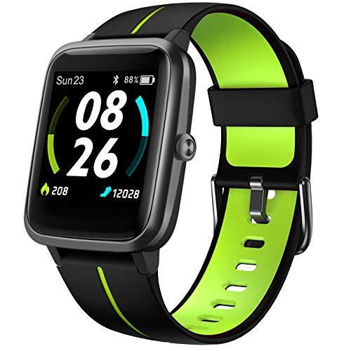 LIFEBEE Smartwatch GPS für Herren Damen, Fitnessuhr 5ATM Wasserdicht, Fitness Tracker 14 Sportmodi mit Schwimmüberwachung Pulsuhren Schrittzähler, Sportuhr Voll Touchscreen Smart Watch