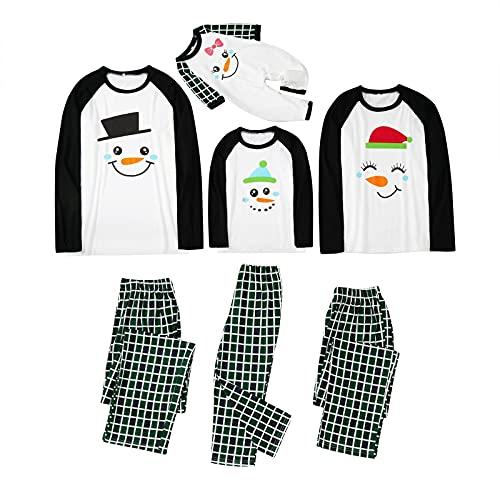 Matching Family Pajamas Set Christmas PJ's Ugly Funny Snowman Print Top+Plaid Pants 2 Pieces Jammies Sleepwear Loungwear