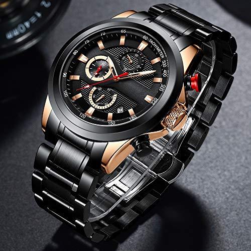 Voigoo Uhren Edelstahl Herrenuhren Luxury Business Luminous Chronograph Datum Quarz-Uhr Relogio Masculino