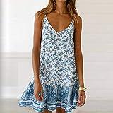 Vestidos De Mujer,El Verano Fuera Del Hombro Sin Respaldo Vintage Floral Impreso Vestido Sexy Sundress Bohemia Hembra Mini Vestido Azul Cielo, Vestido De Fiesta De Playa Encantadora Vestimenta Casual