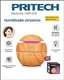 PRITECH - Humidificador Ultrasónido con 7 Luces de LED, diseño en Grano de Madera, Ultrasilencioso y Apagado Automático (150 ml)