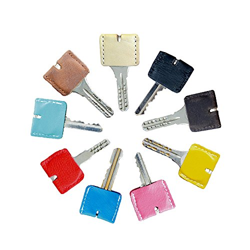 【Hallelujah】山羊革 キーカバー 1個 本革 レザー 革 キーキャップ 鍵 収納 かわいい シンプル メンズ レディース 防犯対策 (Matte/Blue)