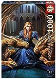 Educa Borras-1000 Fierce Loyalty, Anne Stokes Puzzle, Colore Vario, 17692