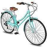 Micargi Roasca V7 Women's 700C City Bike Shimano 7 Speed Commuter City Bike Hi-Ten Steel Frame Lightweight Comfort Commuter Bike Beach Cruiser Bike Road Bike (V7-Ocean Blue)…