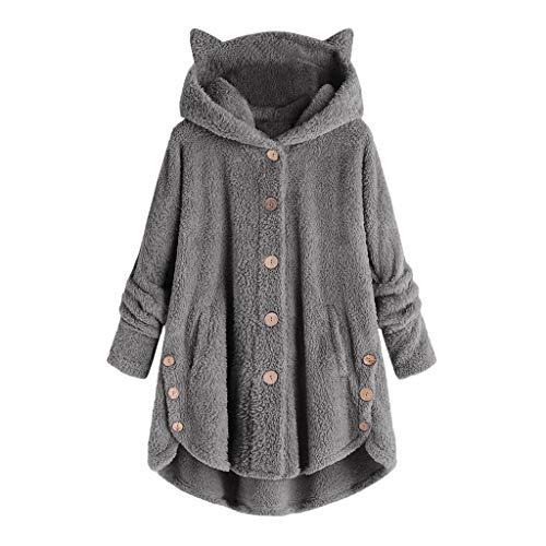 Lazzboy Frauen Knopf Mantel Solid Tops Kapuzenpullover Lose Pullover Bluse Oversized Hoodie Damen Plüschmantel Taschen Fleece Plüschjacke Einfarbige Sweater Outwear(Dunkelgrau,M)