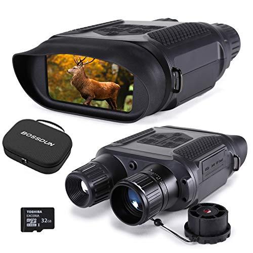 Prismáticos Digital de Visión Nocturna para la Caza, 7x31 con Cámara Infrarroja TFT LCD HD de 4 Pulgadas y Videocámara Rango de Visualización de 1300 pies / 400M, con Tarjeta de Memoria 32G
