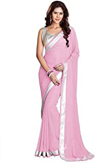 Sharvgun Women's Pure Chiffon Plain Colors Gold or Silver Borders Indian Bollywood Saree (Sari) with Unstitched Blouse Piece