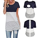 Maternity T Shirt - Lace Splice Pregnant Nursing Tank Top - Baby Bump Tee Pajamas Double Layer Breastfeeding Pregnancy Basic Top Navy