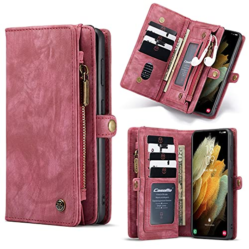 """YCZG PU Leather Multi - Function Large Volume Wallet Cover with Magnetic Seal, 11 Card Slot Zip Wallet Cover for Samsung 6.2""""5G 2021, Red"""