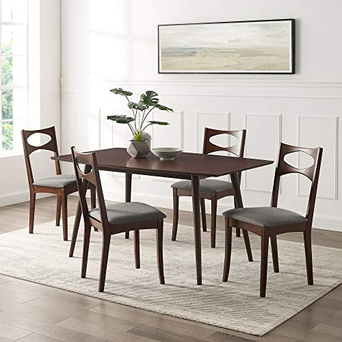 Walker Edison 6 Person Simple Wood Room Kitchen Table Set Dining Chairs, 60 Inch, Walnut Brown
