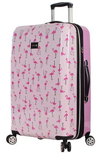 Betsey Johnson 26 Inch Checked Luggage Collection - Expandable Scratch Resistant (ABS + PC) Hardside Suitcase - Designer Lightweight Bag with 8-Rolling Spinner Wheels (Flamingo Strut)