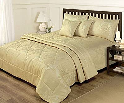 6 Piece Double Duvet Set Jacquard Gold Including Bedspread Throw