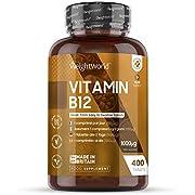 Vitamine B12 Vegan 1000 mcg - 400 Gélules + d'1 an - Vitamin B12 WeightWorld   Méthylcobalamine Pure - Complément Alimentaire pour Système Immunitaire - Sans OGM, Facile à Avaler