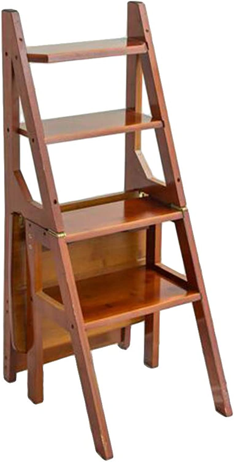 Multifunctional Household Folding Ladder,Chair Ladder Dual Purpose, Thickening Bamboo Four-step Ladder (color   Walnut color)