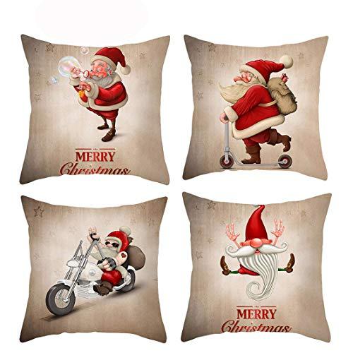 FITARTS - Set di 4 federe per cuscini natalizi, 45 x 45 cm, per divano e interni 18'x18'' Babbo Natale.