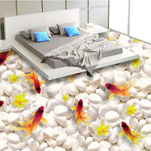 Shuangklei Benutzerdefinierte 3D Boden Wandbild Tapete Schwimmen Goldfisch Pvc Selbstklebende Wasserdichte Wohnzimmer Badezimmer 3D Bodenbelag Papel De Parede-200x140cm