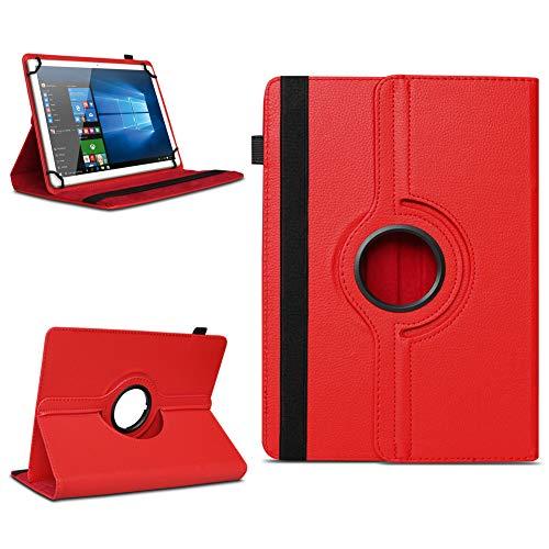 NAmobile Tablet Tasche kompatibel für Wortmann Terra Pad 1006 Hülle Schutzhülle Tablettasche mit Standfunktion 360 Crad drehbar Universal Tablethülle, Farben:Rot