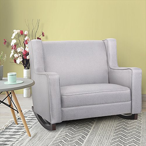 Esright Grey Upholstered Rocking Chair Padded Seat Fabric Rocker for Nursery Comfortable Relax Glider