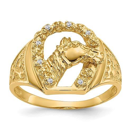 14k Yellow Gold Diamond Men's Ring, Size 61 1/2
