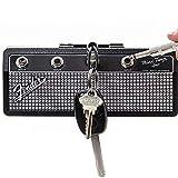 Fender Jack Rack Key Holder-Montaje en pared Amplificador de guitarra Ganchos para llaves, Incluye 1 kit de montaje en pared y 4 llaveros de clavija...