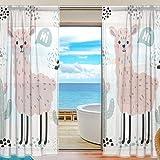 Mnsruu Fenster Gardinen Rosa Cartoon Lama Dekoration für Wohnzimmer Schlafzimmer Kinderzimmer 200x140cm, Voile Vorhänge 2 Panels