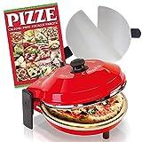 SPICE - Horno de pizza Caliente con piedra refractaria 400 grados Resistencia circular + 2 paletas de acero inoxidable + libro de recetas para pizzas.