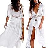 Geagodelia Dress Femme Robe en Plage Dentelle Paréo Boho Lace Poncho Bikini Coverups Mesh Tulle Cache-Maillots Cardigan Transparent Tunique Sarong Beachwear (Blanc, L)