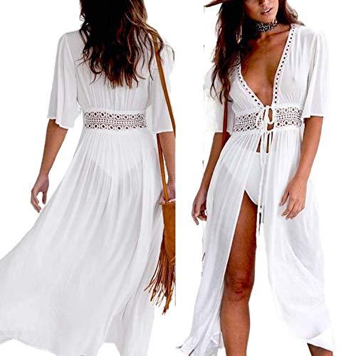 Geagodelia Dress Femme Robe en Plage Dentelle Paréo Boho Lace Poncho Bikini Coverups Mesh Tulle Cache-Maillots Cardigan Transparent Tunique Sarong Beachwear (Blanc, M)