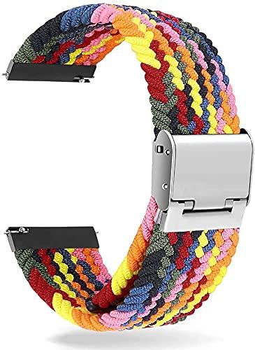 Niboow Correa Trenzada Compatible con Garmin Watch 20mm, Elástica Correa Deportiva Trenzada Compatible con Garmin Vivoactive 3/Vivomove 3/Luxe/Style/HR Vivoactive Forerunner 245/645 Music-colorful