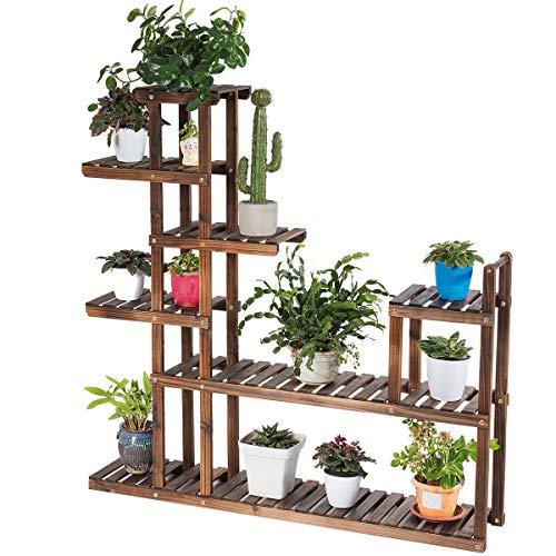 RELAX4LIFE Blumenständer Holz, platzsparender Pflanzenständer mit Ablagen, freisthendes Pflanzenregal, stabiles Blumenregal mit modernem Zaun-Design, für Wohnzimmer & Balkon & Garten (7 Etagen)