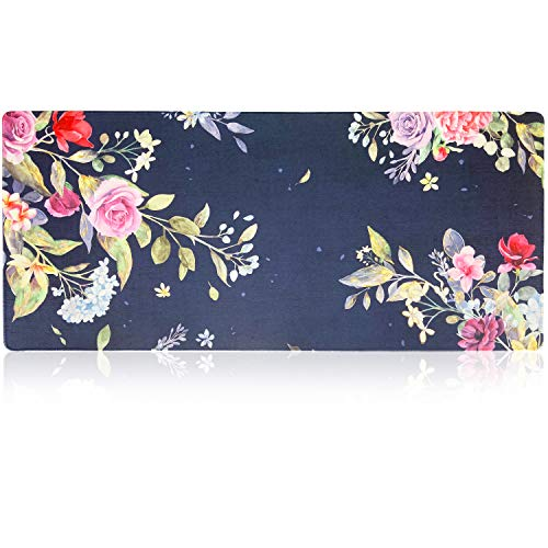 """Extended Gaming Mouse Pad Mat XXXL 35.4""""x15.7""""x0.16""""(4mm Ultra Thick), Extra Large Office Desk Mat, Floral Design, Stitched Edges, Waterproof, Heavy Duty Mousepad,Watercolor Flower"""