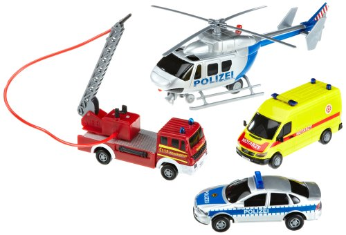 Dickie Toys 203314134 - S.O.S. Garage, Spielset mit Helikopter, Polizeiauto, Feuerwehrauto und Rettungswagen, Fahrzeuge 13-17 cm, Helikopter 31 cm